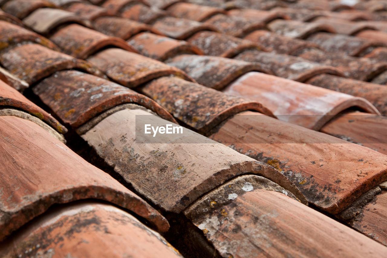 Full Frame Shot Of Earthenware Roof Tiles