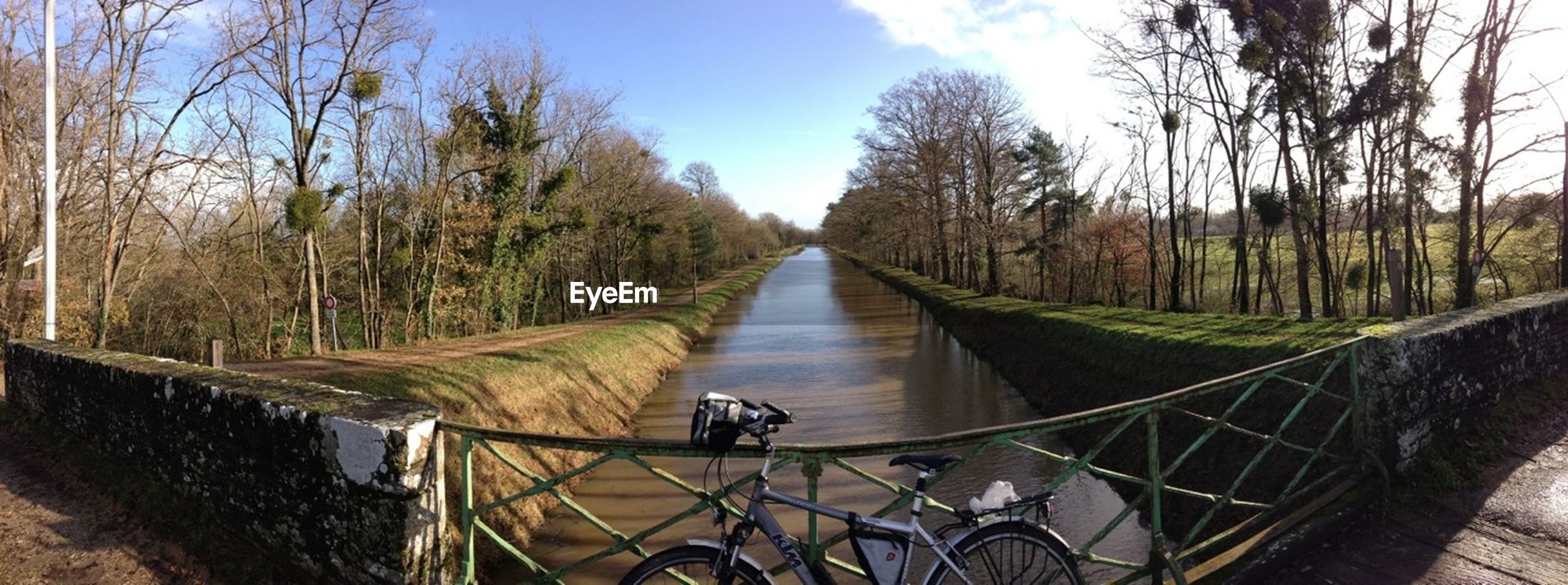 tree, water, railing, sky, the way forward, diminishing perspective, canal, transportation, footbridge, bare tree, river, tranquility, nature, tranquil scene, bicycle, day, lake, vanishing point, bridge - man made structure, built structure