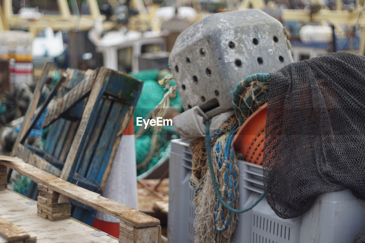 Close-Up Of Fishing Net In Crate