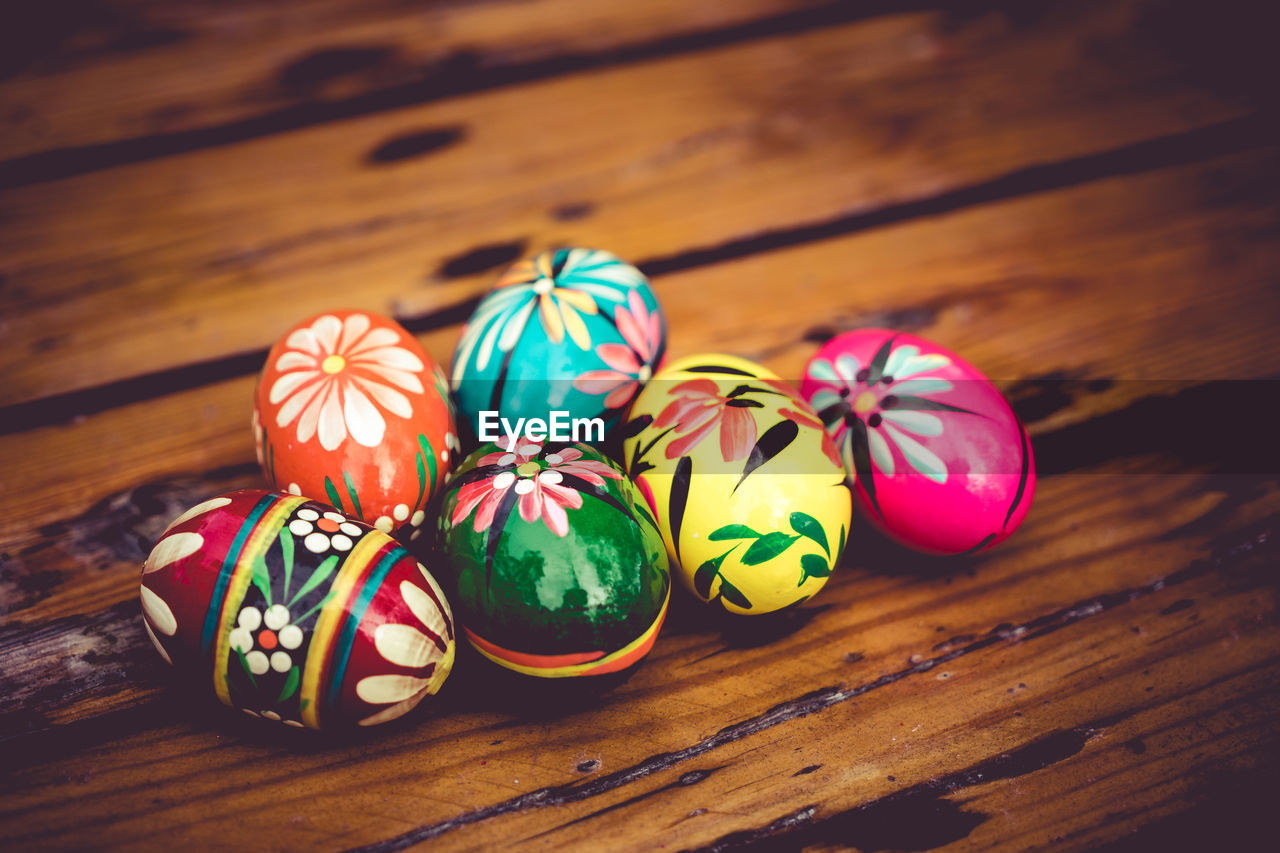 High Angle View Of Painted Easter Eggs On Table
