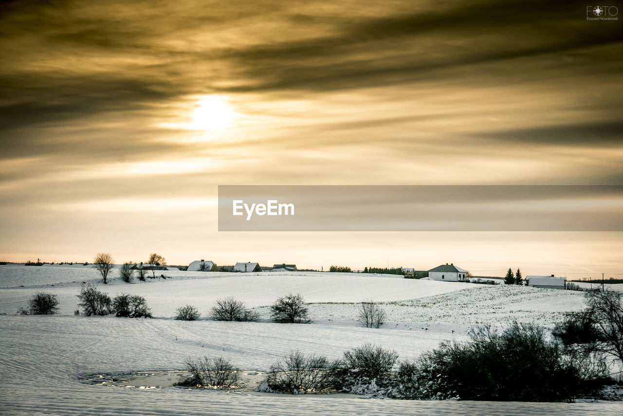 nature, cold temperature, winter, beauty in nature, tranquility, tranquil scene, scenics, sky, snow, sunset, outdoors, tree, no people, landscape, cloud - sky, day, water