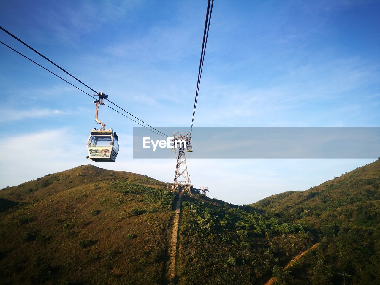 Low Angle View Of Overhead Cable Car And Mountains