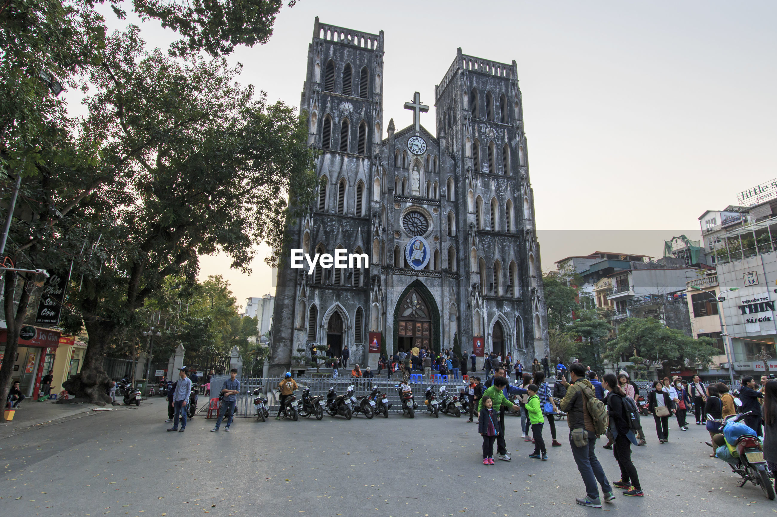 People on street in front of st joseph cathedral
