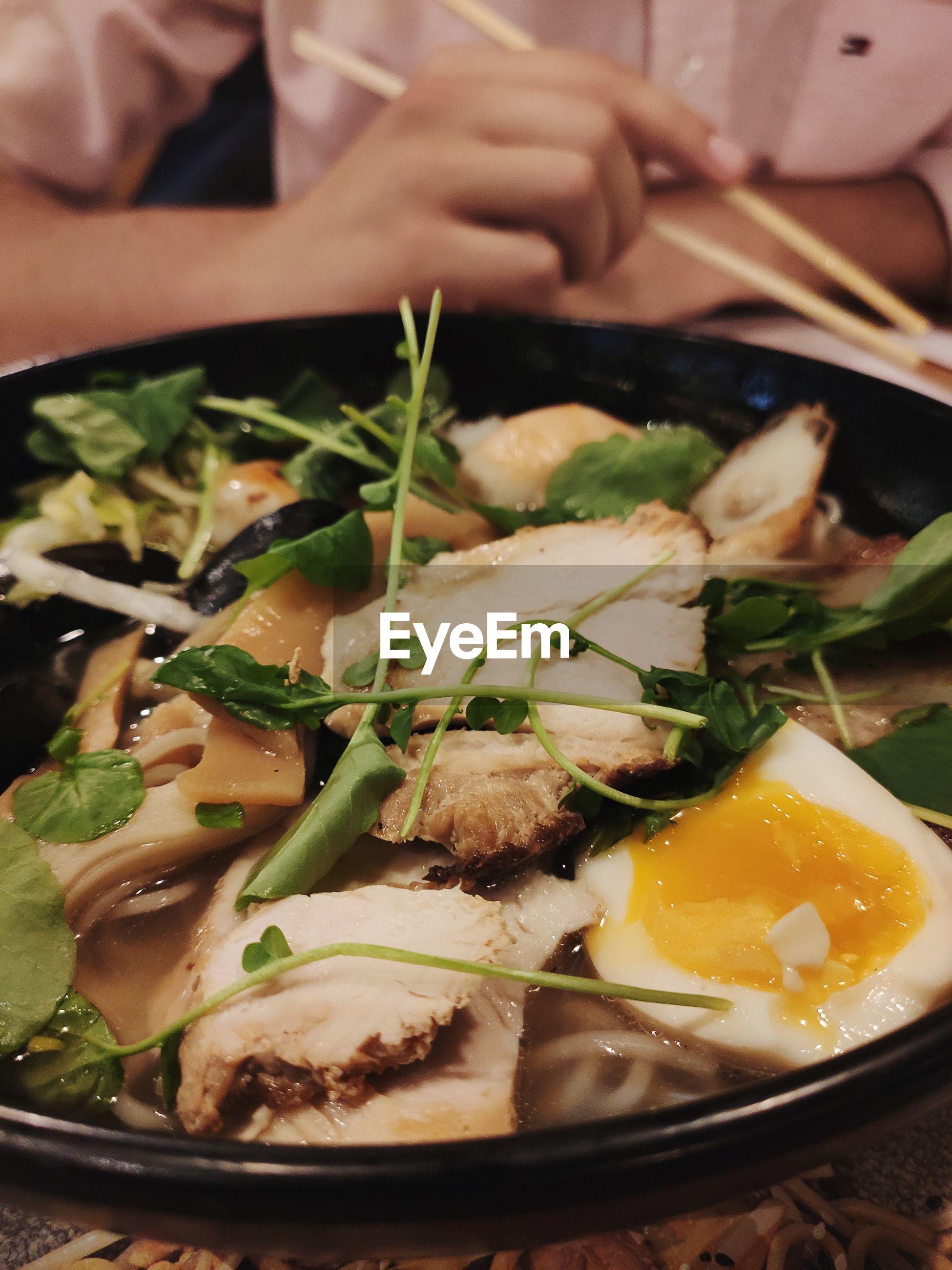 Close-up of ramen bowl