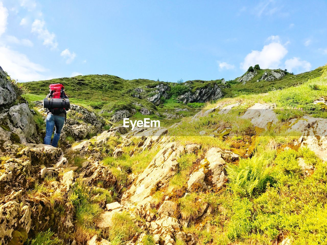 hiking, real people, backpack, rear view, beauty in nature, adventure, mountain, sky, hiker, nature, lifestyles, scenics, leisure activity, full length, one person, tranquil scene, day, tranquility, casual clothing, standing, walking, rock - object, cloud - sky, grass, outdoors, exploration, men, green color, landscape, people