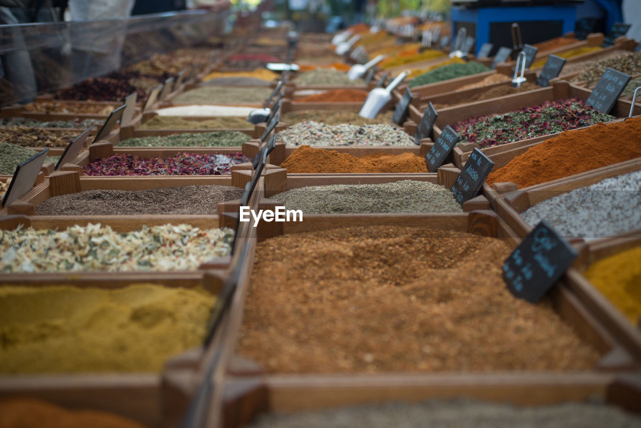 selective focus, food and drink, in a row, freshness, food, choice, variation, for sale, arrangement, market, retail, indoors, store, no people, large group of objects, order, container, abundance, business, retail display, tray