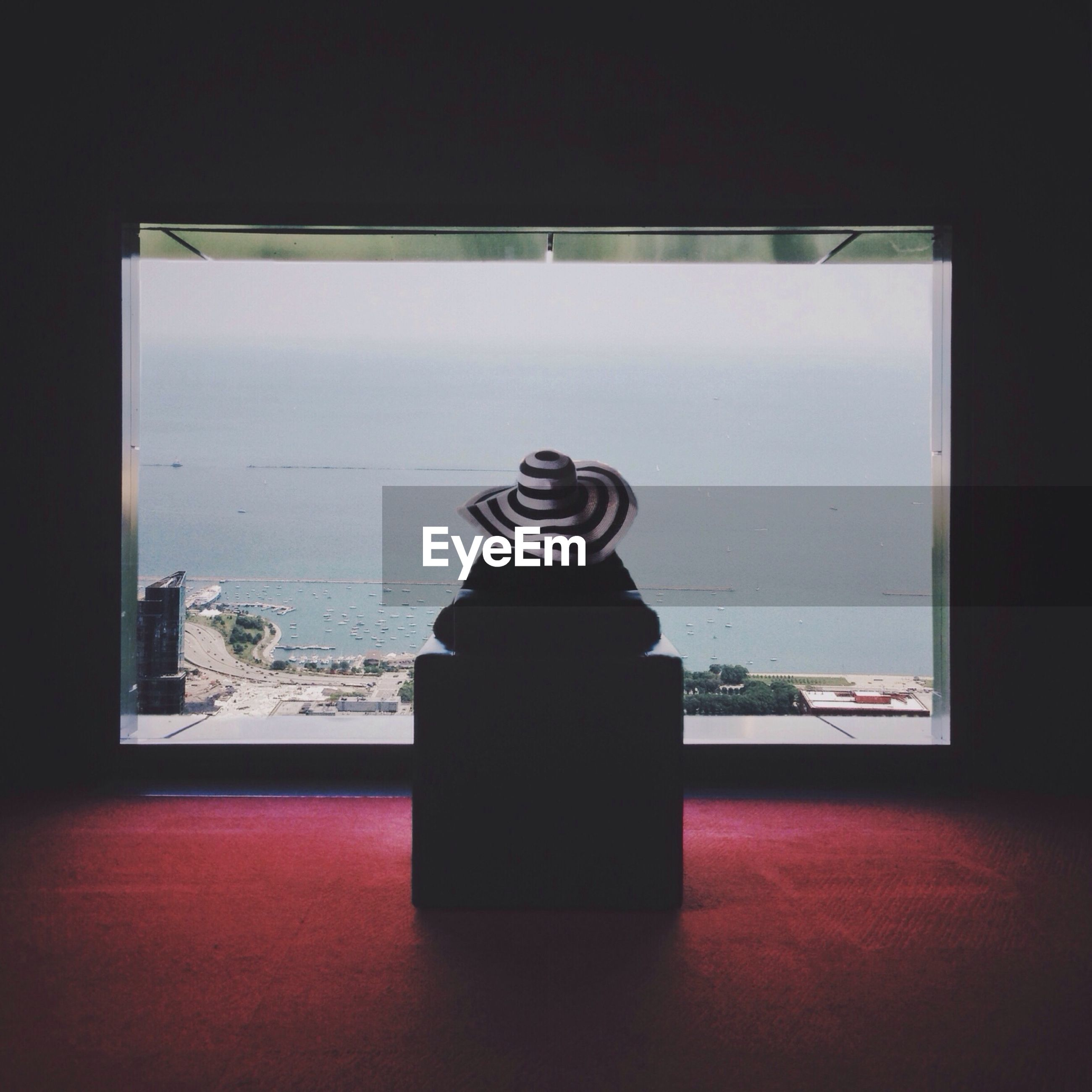 Rear view of woman looking at view through window