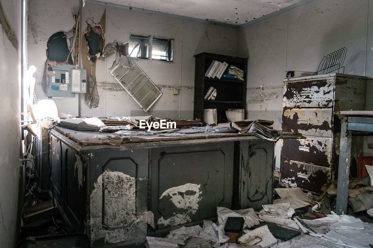 messy, abandoned, damaged, destruction, indoors, run-down, bad condition, no people, cabinet, day