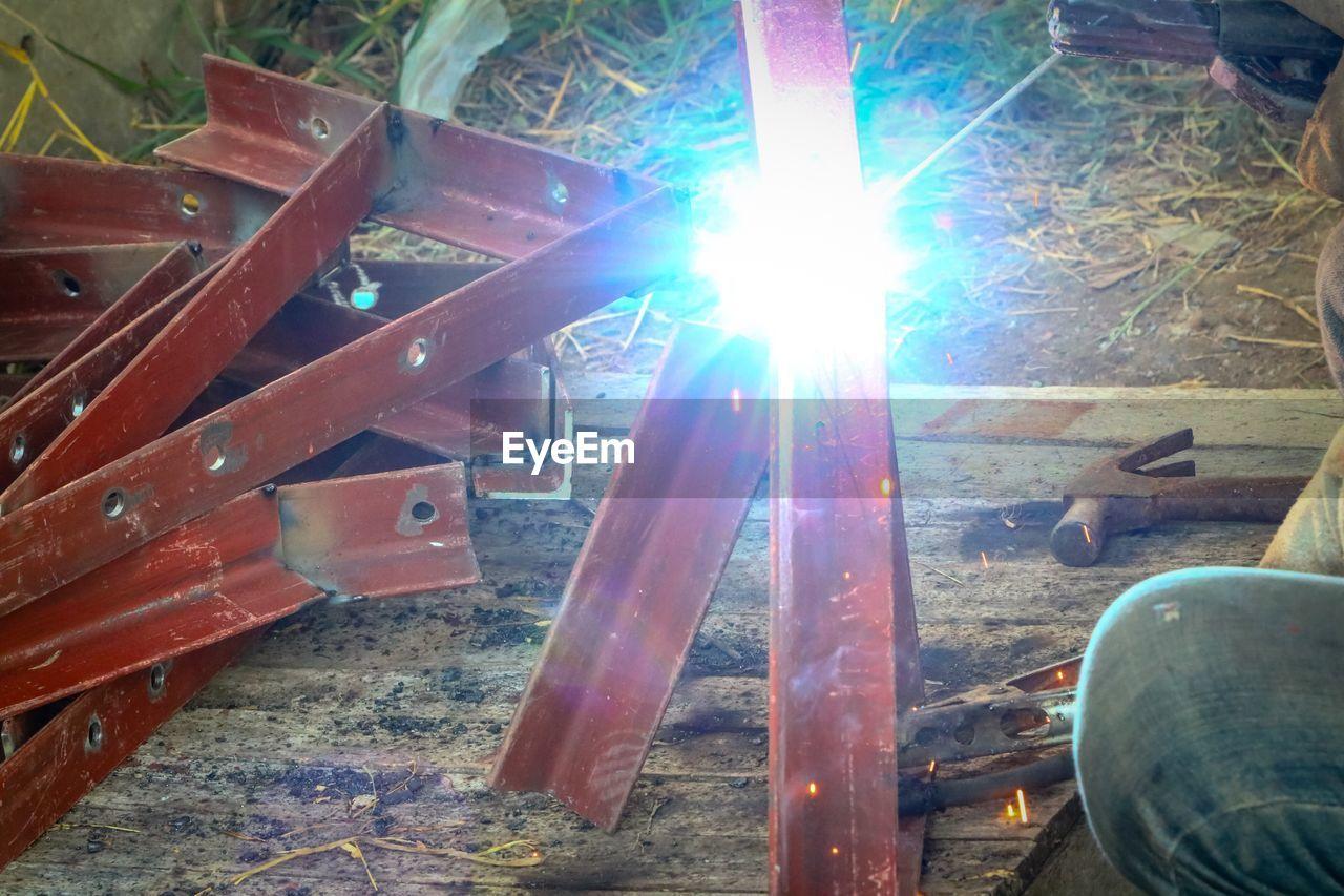 wood - material, metal, indoors, work tool, no people, metal industry, workshop, day, close-up, industry, girder