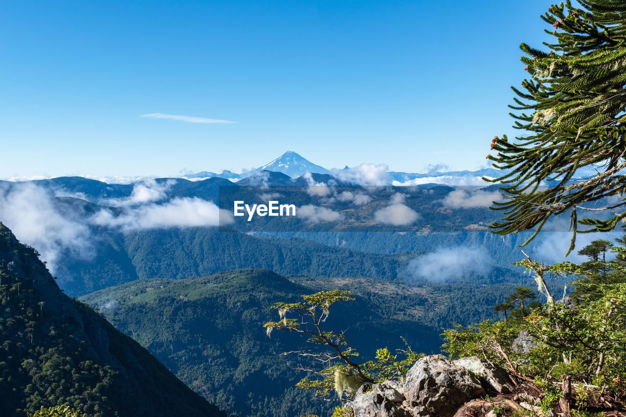 mountain, beauty in nature, scenics - nature, sky, tranquil scene, tranquility, tree, mountain range, plant, idyllic, nature, non-urban scene, no people, environment, day, landscape, blue, cloud - sky, outdoors, remote, snowcapped mountain, mountain peak, coniferous tree