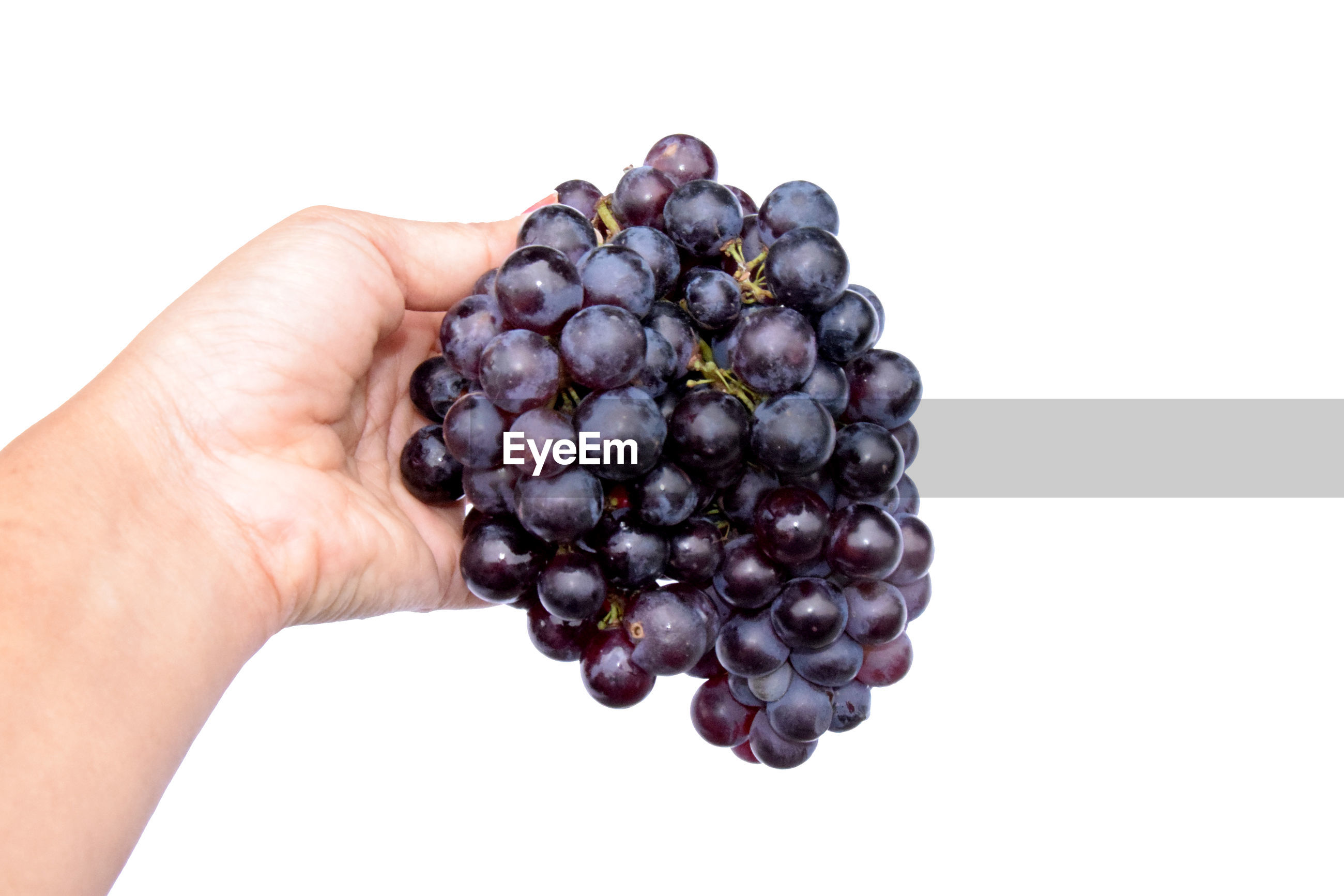 CROPPED IMAGE OF HAND HOLDING GRAPES AGAINST WHITE BACKGROUND