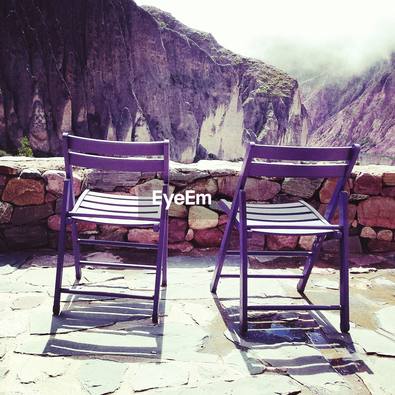 Empty chairs at observation point