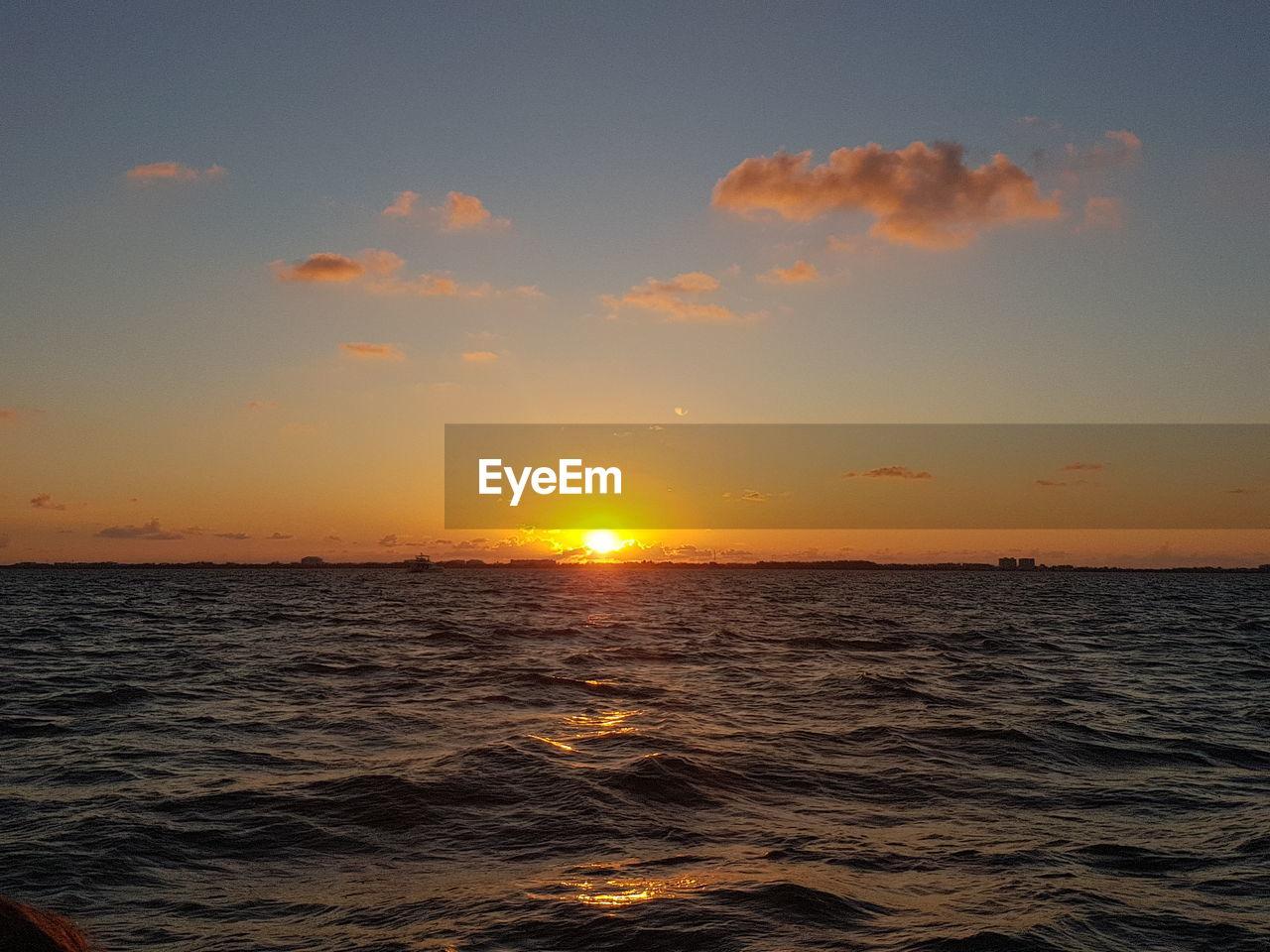 sunset, sky, water, sea, beauty in nature, scenics - nature, tranquility, orange color, tranquil scene, sun, horizon, horizon over water, idyllic, nature, cloud - sky, non-urban scene, no people, waterfront, sunlight, outdoors