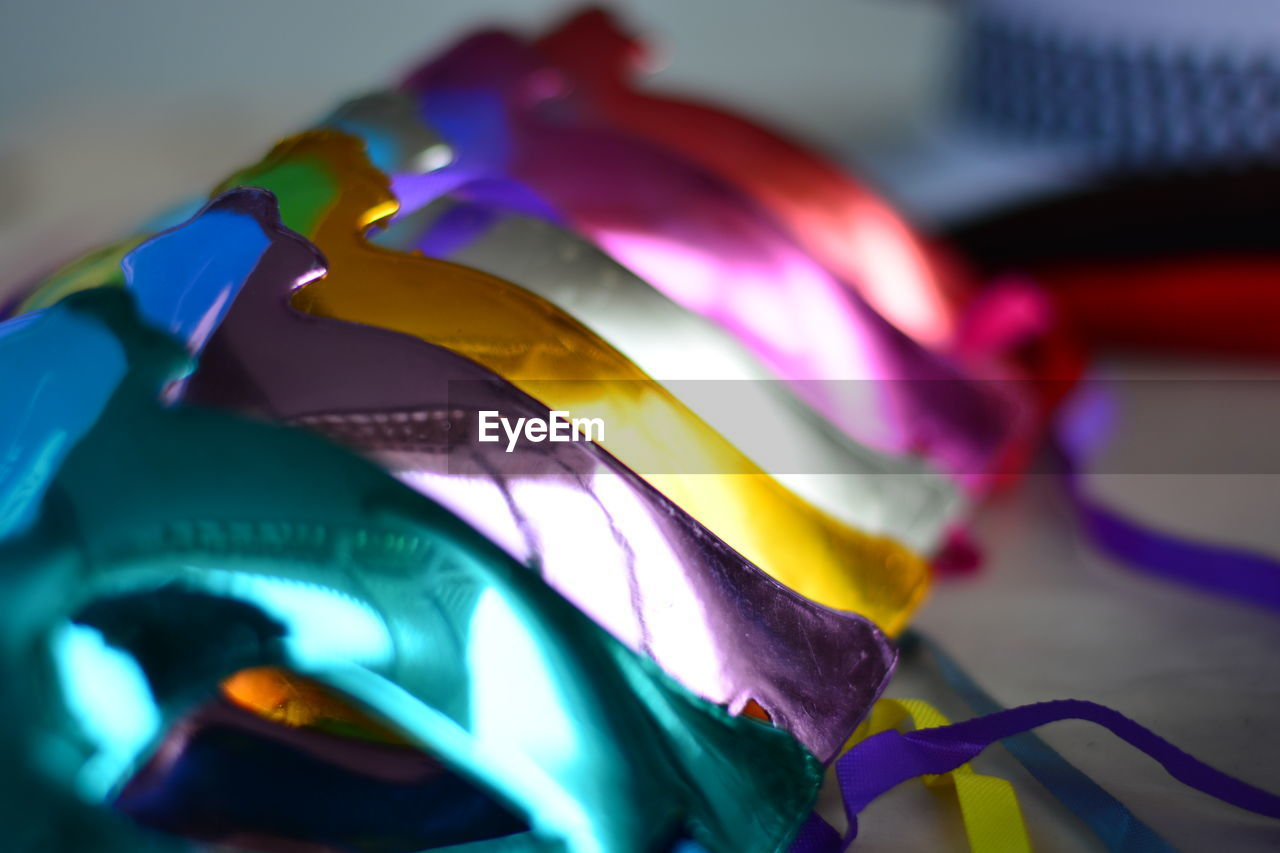 multi colored, close-up, no people, indoors, celebration, day