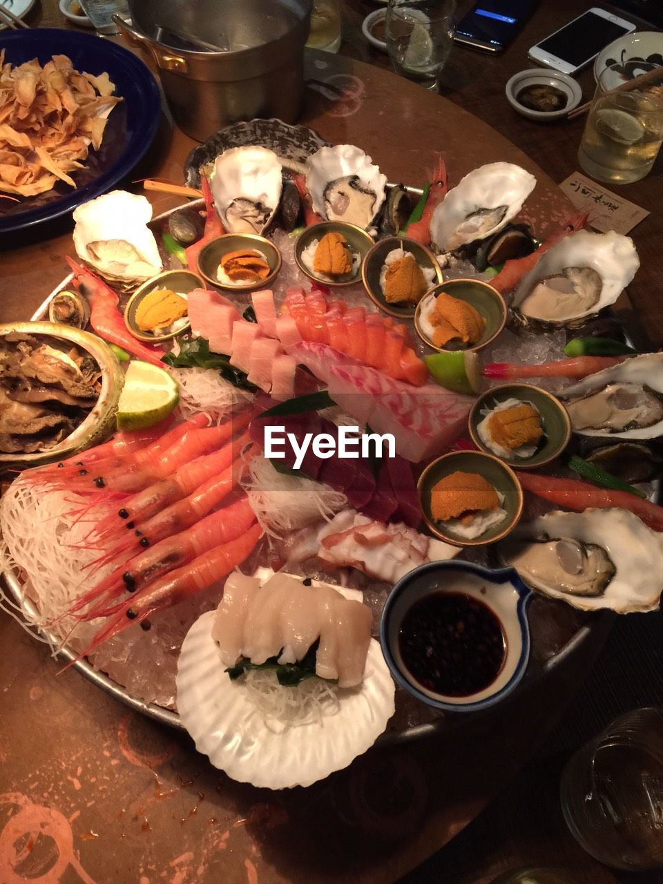 food and drink, food, seafood, freshness, indoors, plate, high angle view, ready-to-eat, still life, no people, table, variation, serving size, healthy eating, large group of objects, close-up, day