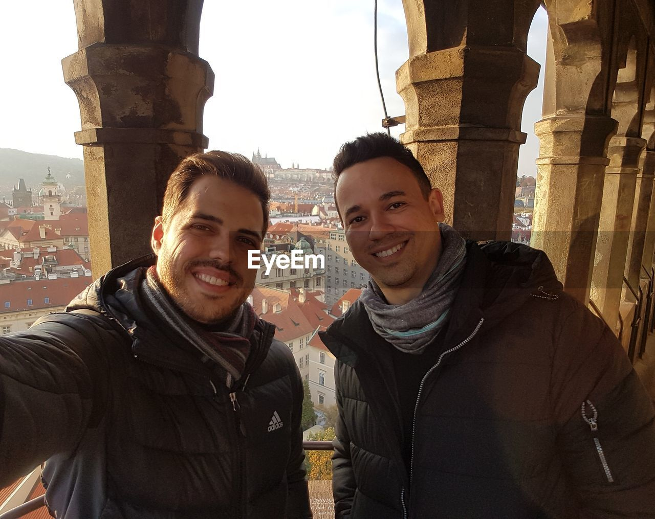 smiling, portrait, architecture, looking at camera, young adult, built structure, two people, young men, real people, tourism, happiness, history, leisure activity, togetherness, friendship, lifestyles, selfie, city, outdoors, day, young women