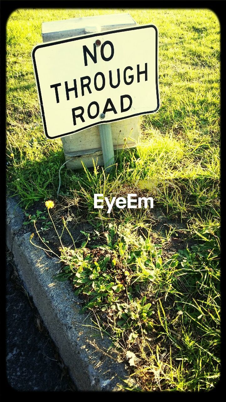 text, western script, communication, grass, day, no people, outdoors, plant, nature, road sign, close-up