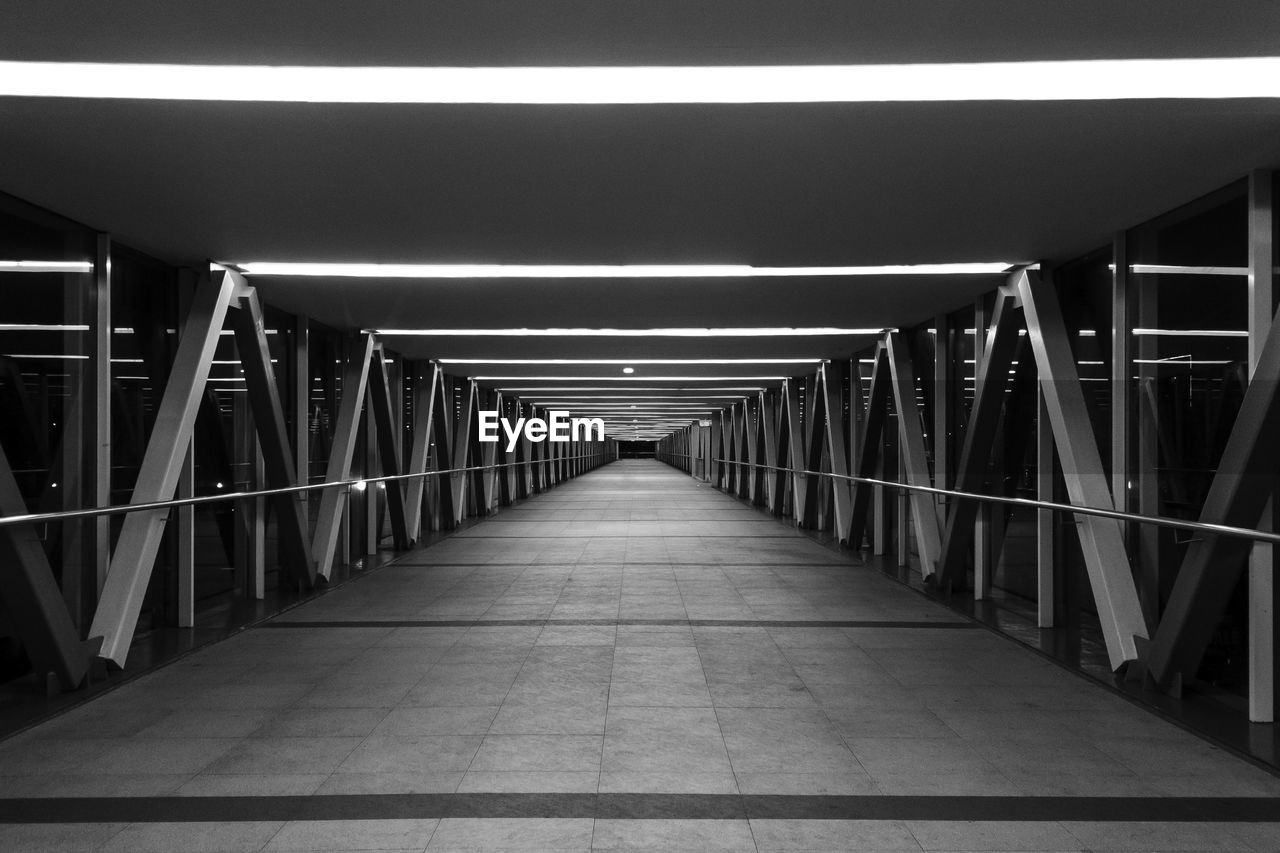 Illuminated Empty Elevated Walkway