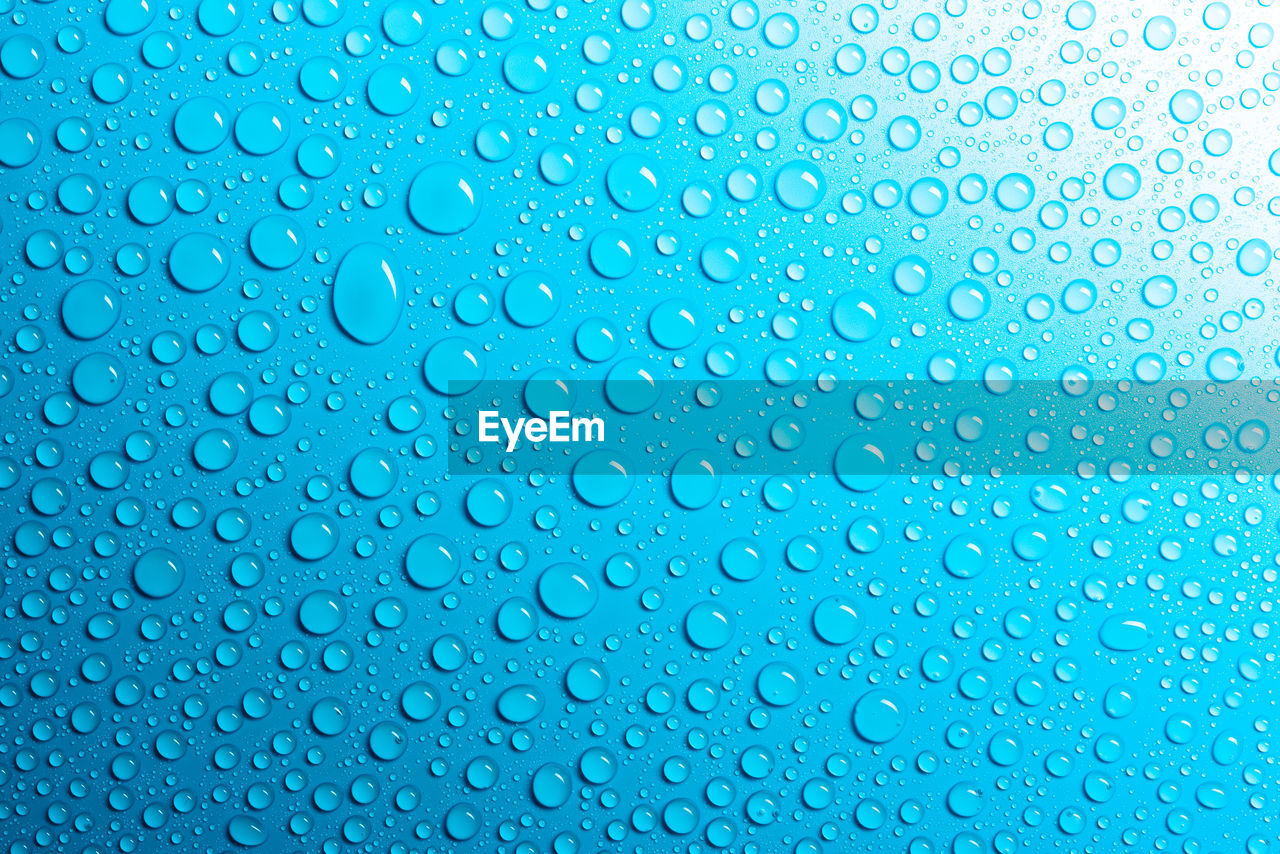 backgrounds, wet, drop, blue, water, pattern, full frame, rain, abstract, close-up, textured effect, no people, textured, shiny, transparent, indoors, geometric shape, window, bright, purity, raindrop, abstract backgrounds, blue background
