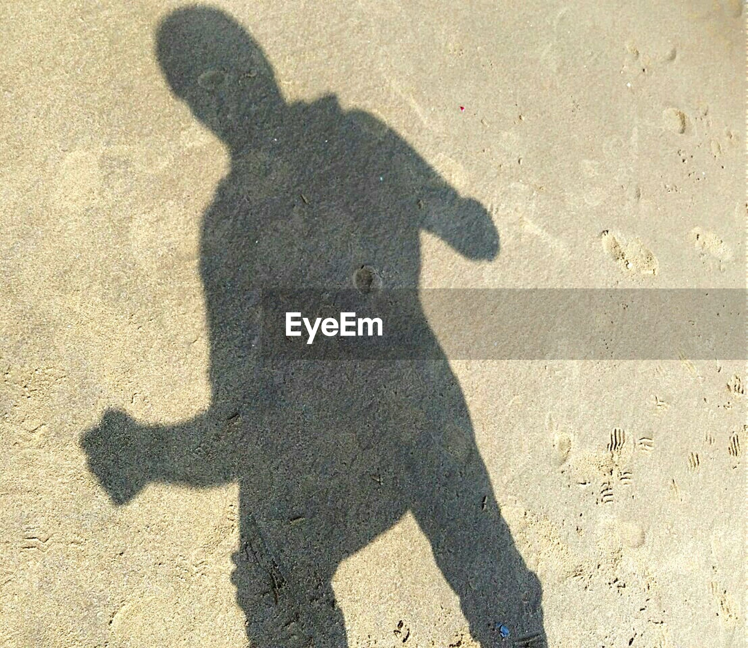 Shadow of man standing on sand at beach