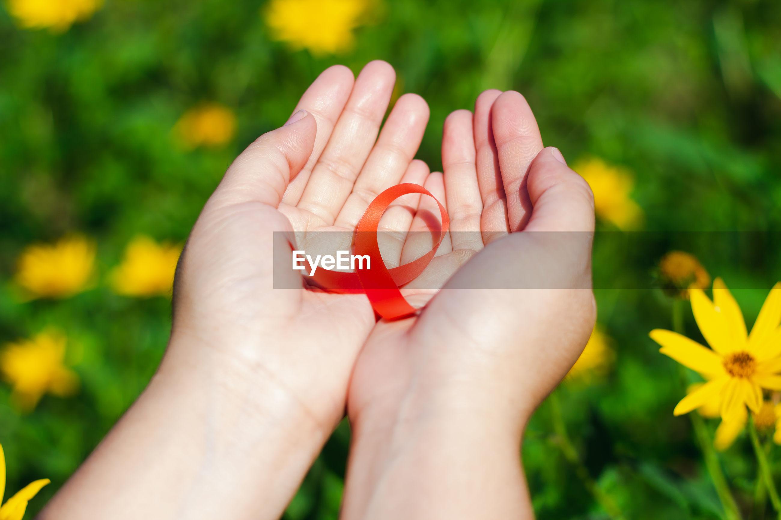 Close-up of hand holding aids awareness ribbon