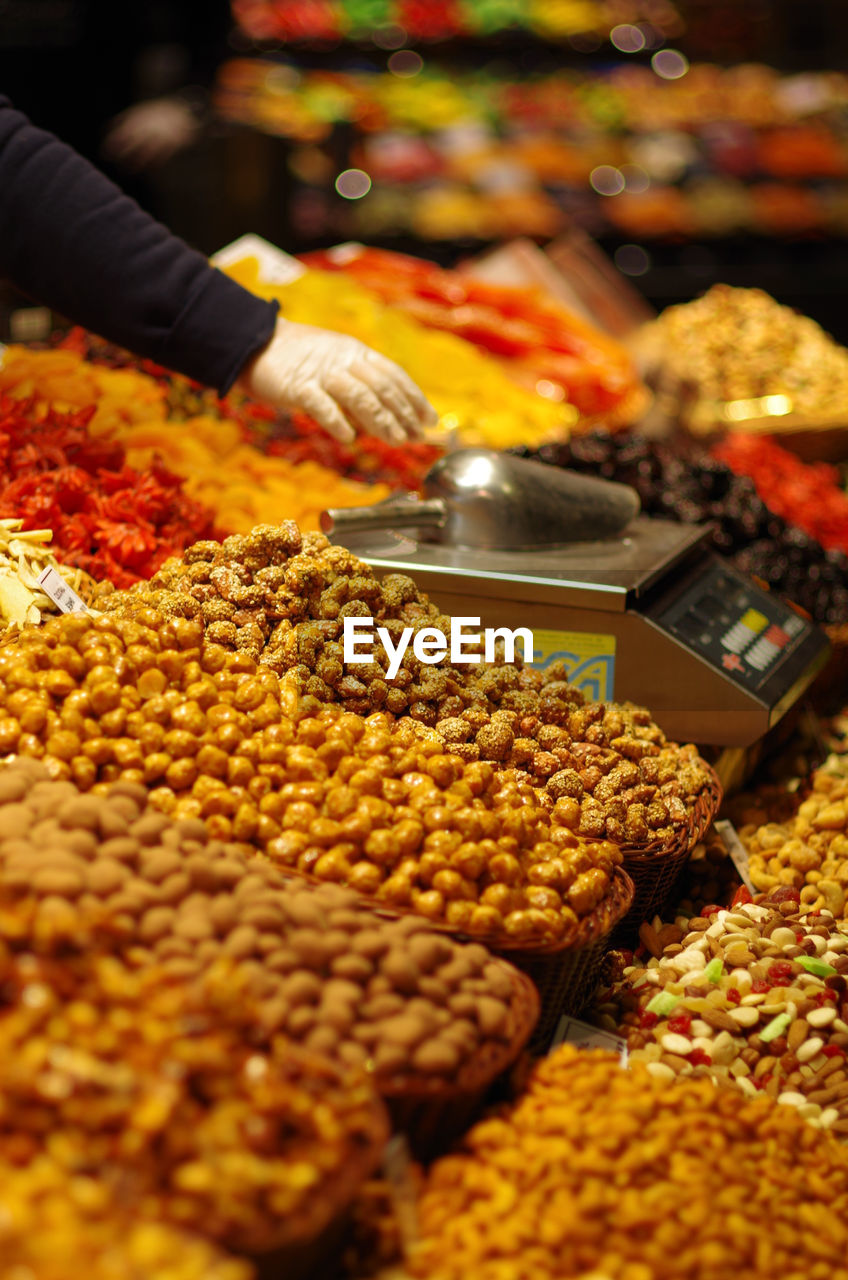 High Angle View Of Dried Fruits For Sale At Market Stall