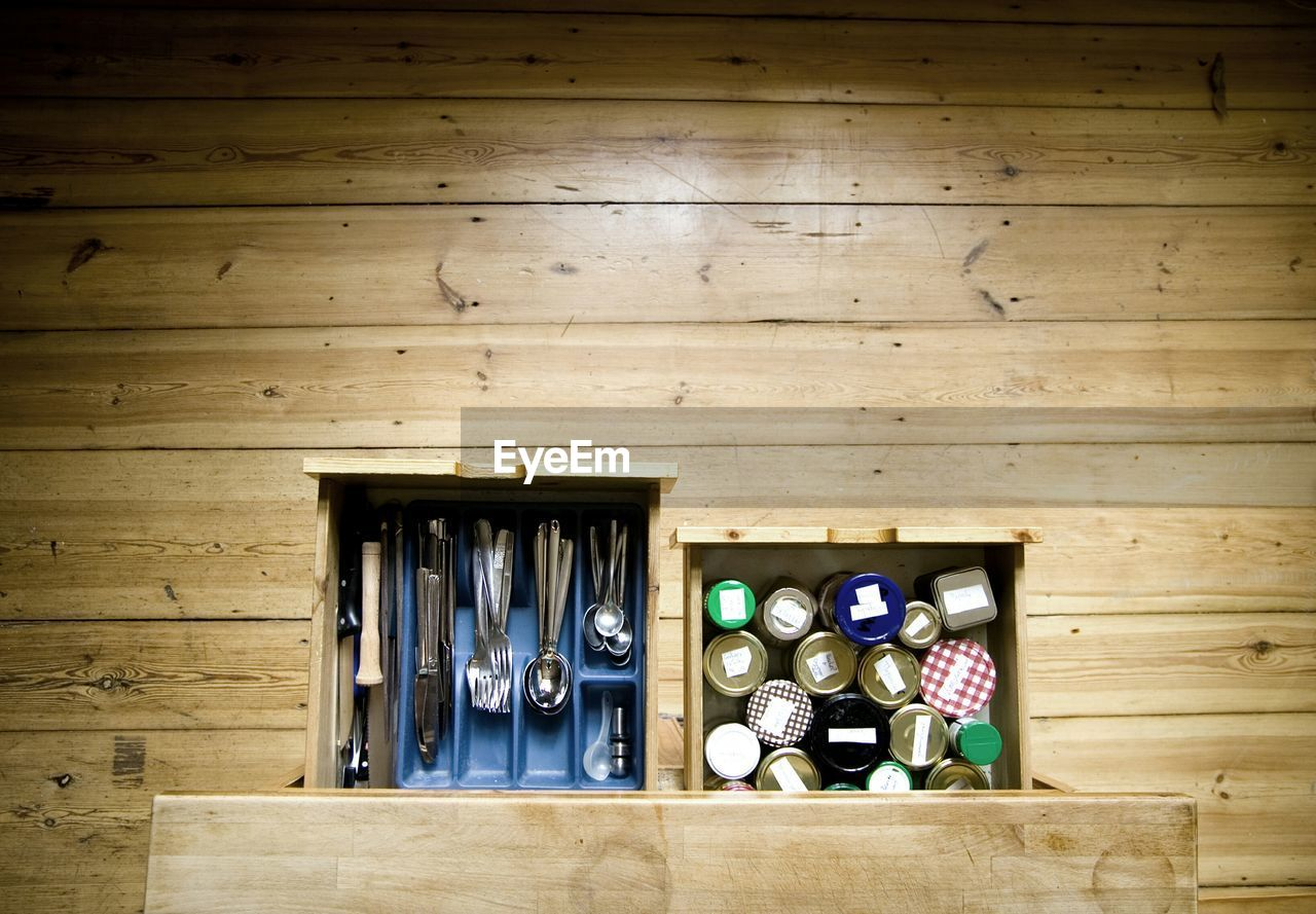 High Angle View Of Utensils In Drawer At Kitchen