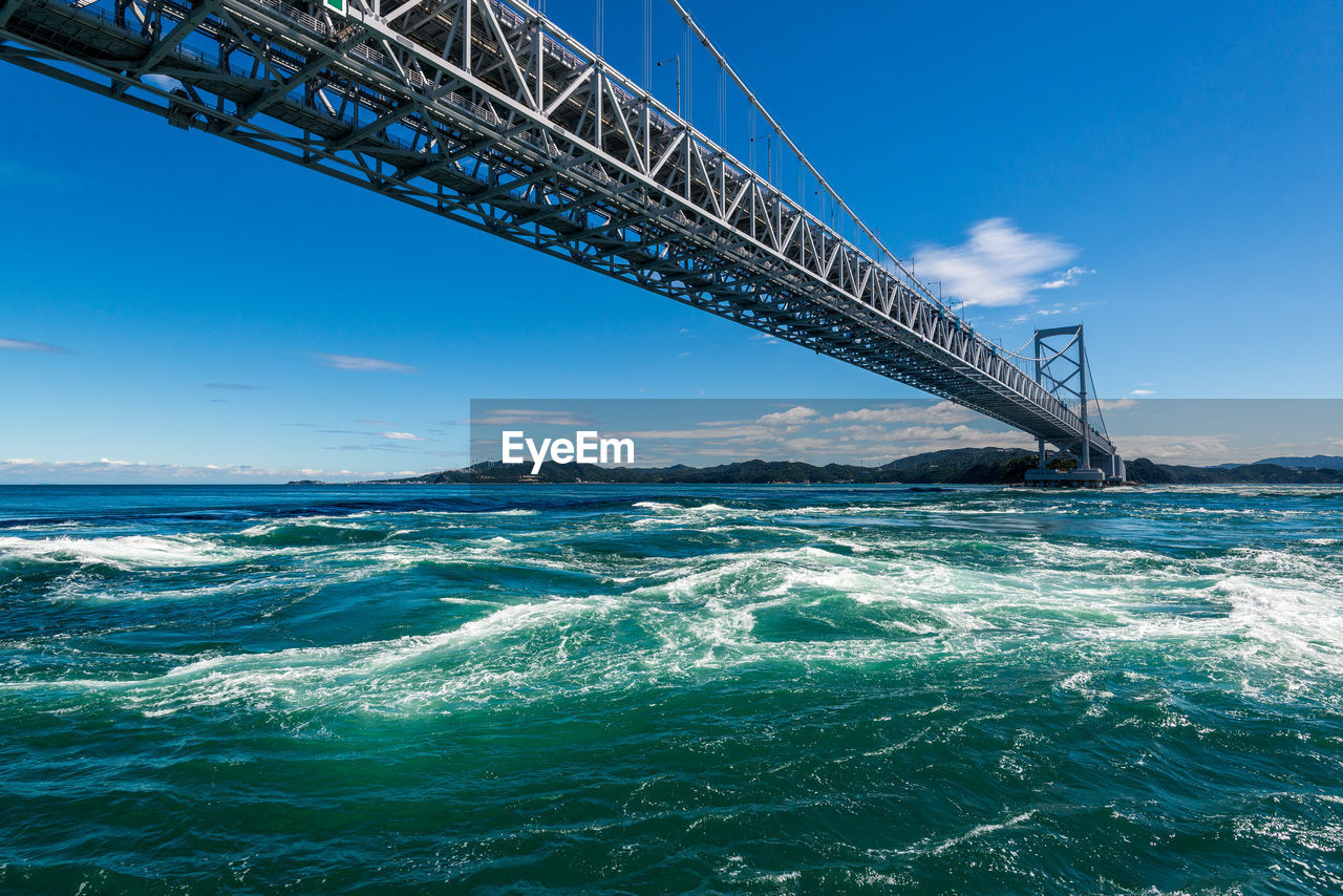 water, sky, sea, waterfront, built structure, architecture, bridge, connection, motion, blue, bridge - man made structure, nature, day, transportation, no people, scenics - nature, wave, beauty in nature, outdoors
