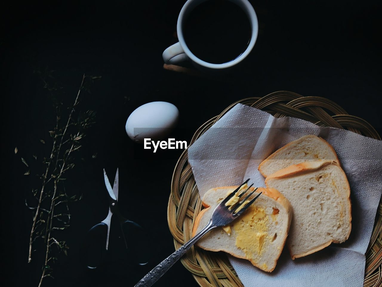 High Angle View Of Breakfast In Darkroom
