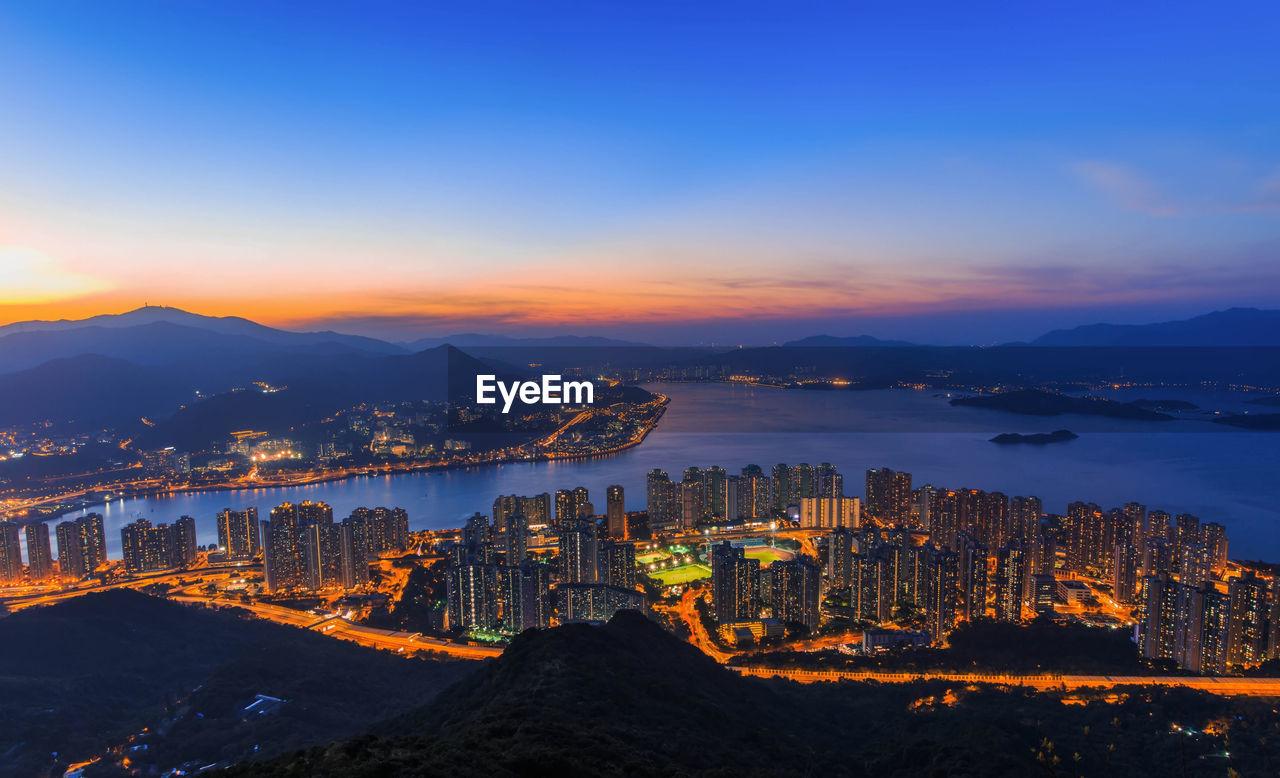 High Angle View Of Hong Kong Cityscape At Night
