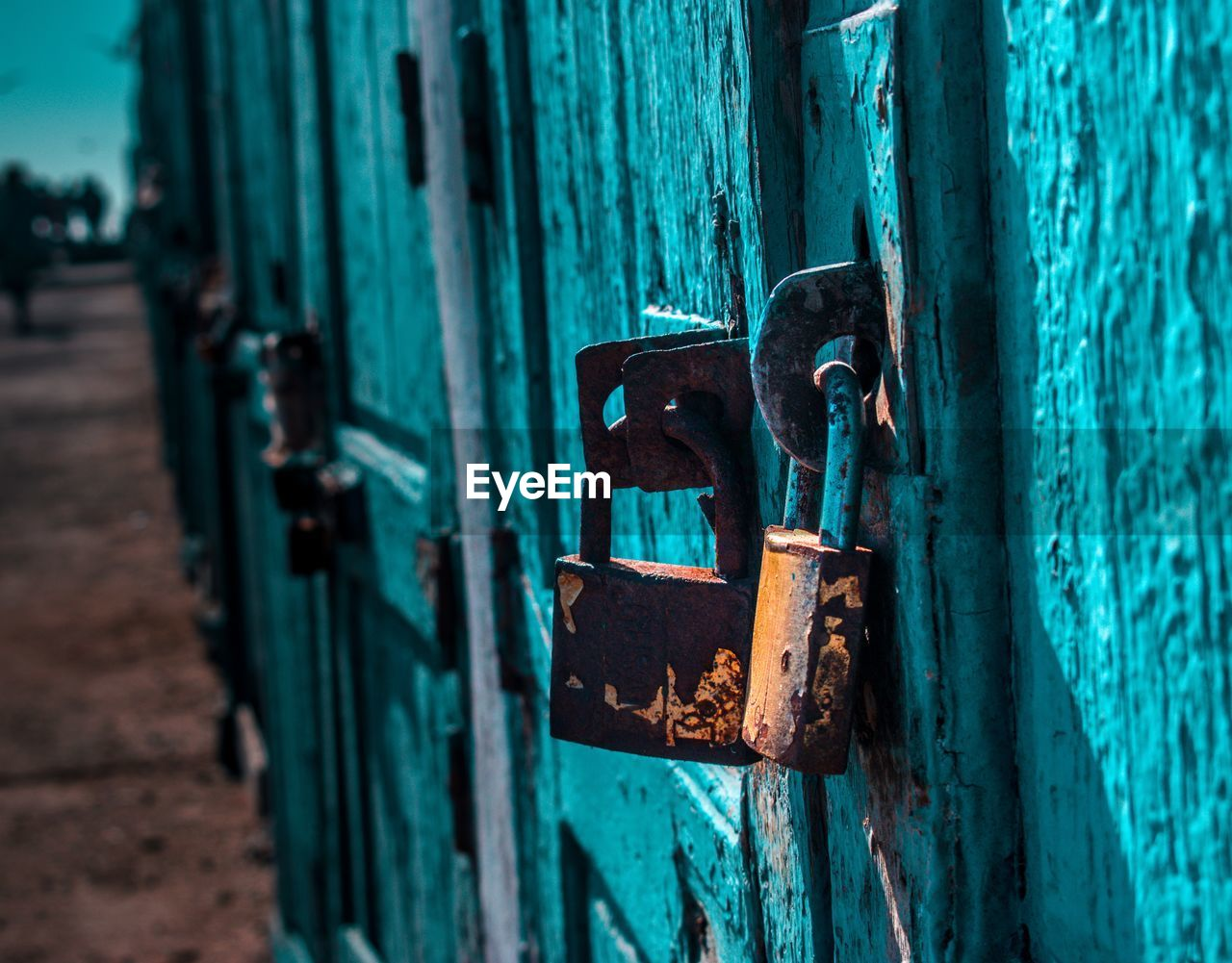 Close-Up Of Rusty Padlocks On Turquoise Doors