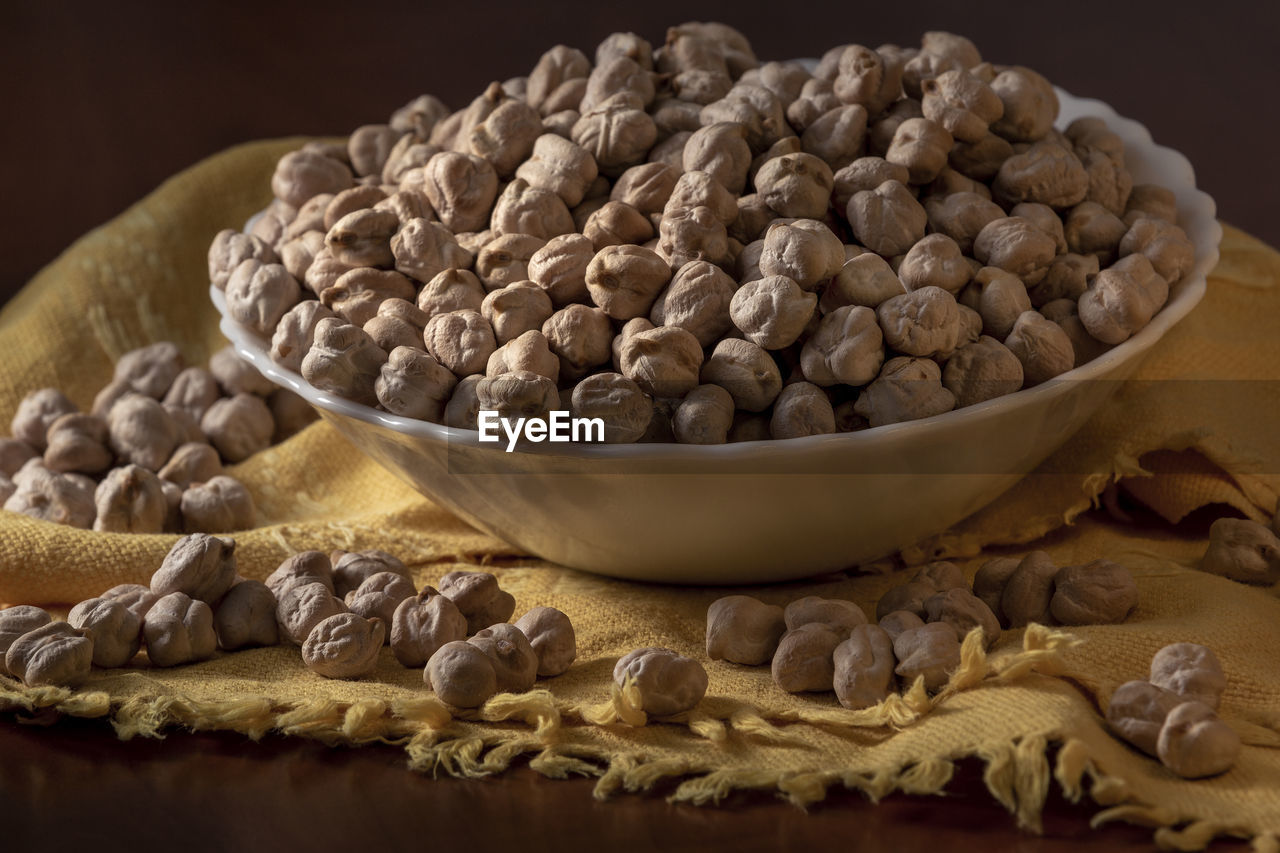 High Angle View Of Chick-Peas In Bowl On Table