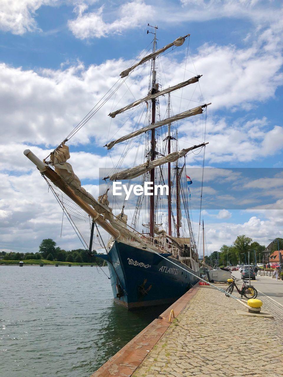 nautical vessel, transportation, water, mode of transportation, cloud - sky, sky, sailboat, mast, nature, sea, pole, ship, moored, day, sailing, sailing ship, no people, travel, outdoors