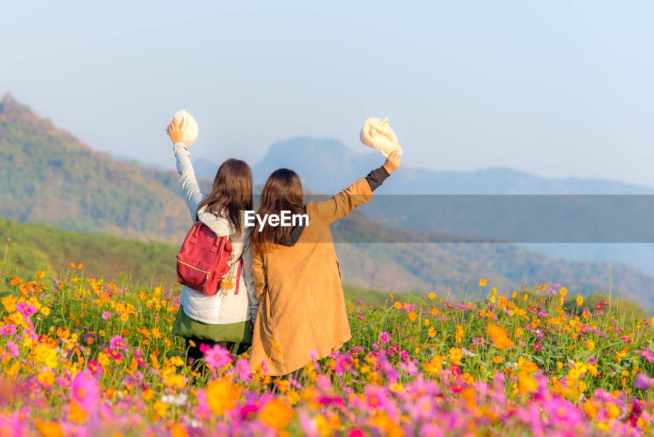 Rear view of women with arms raised standing by flowers on mountain against clear sky