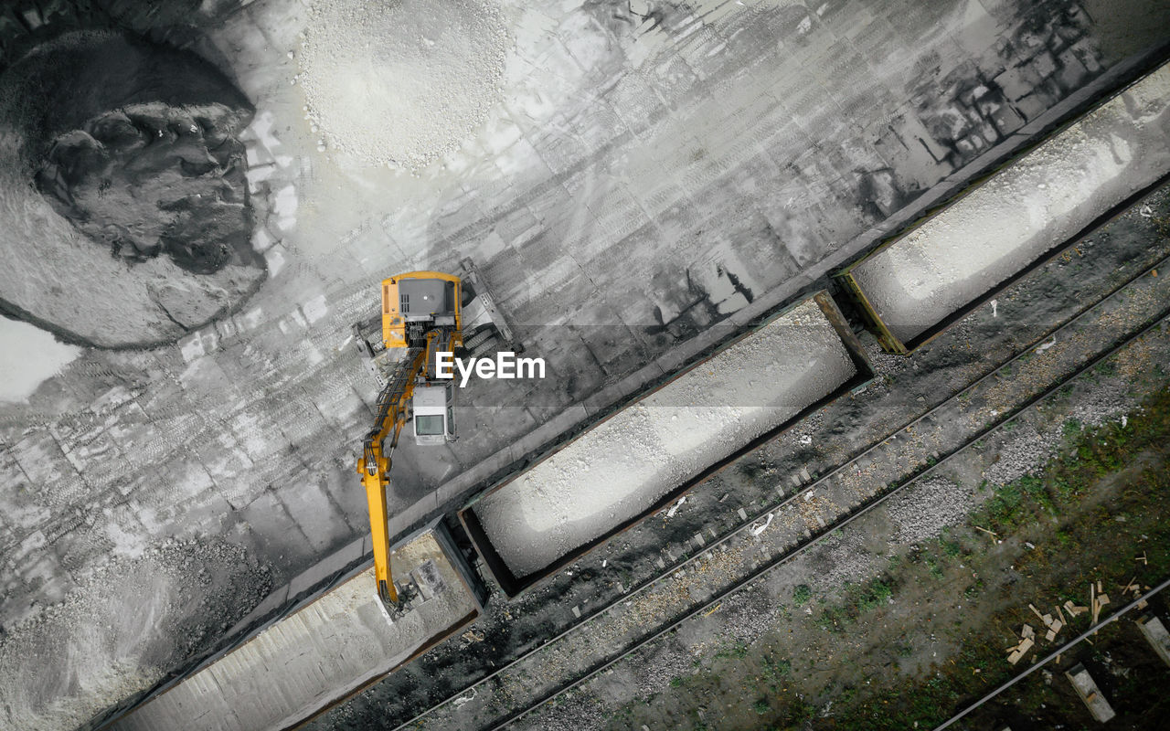 Aerial view of machinery on land