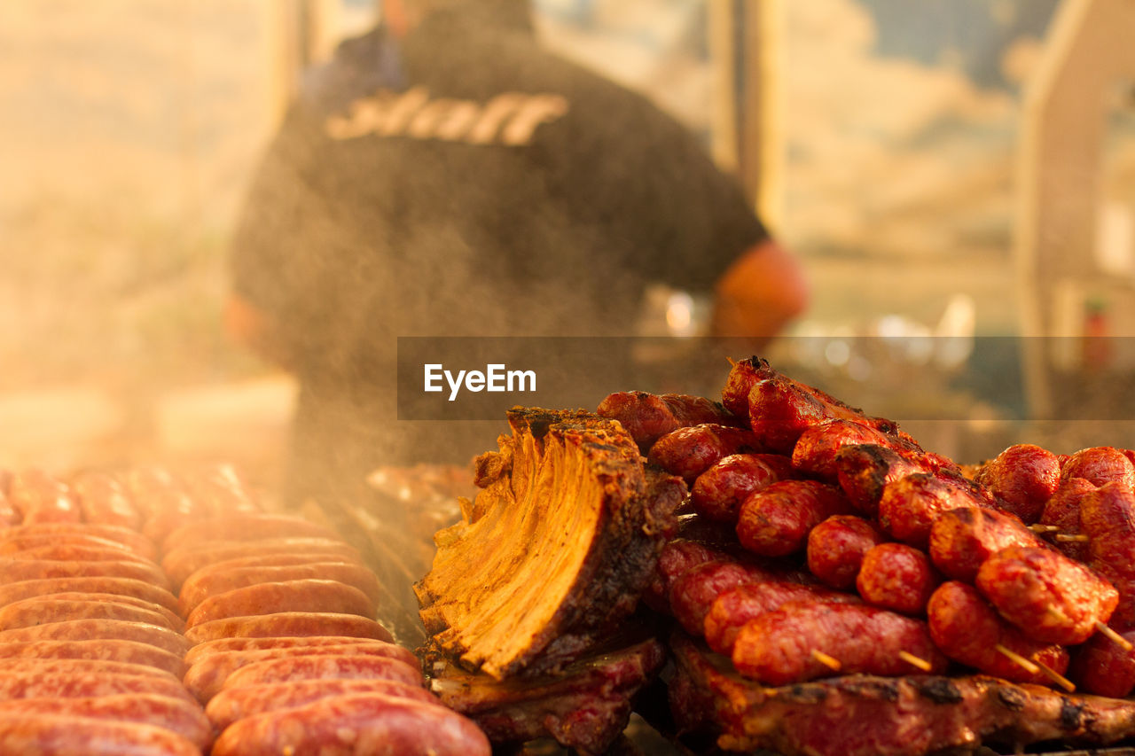 Close-Up Of Meat Food In Street Food Stall