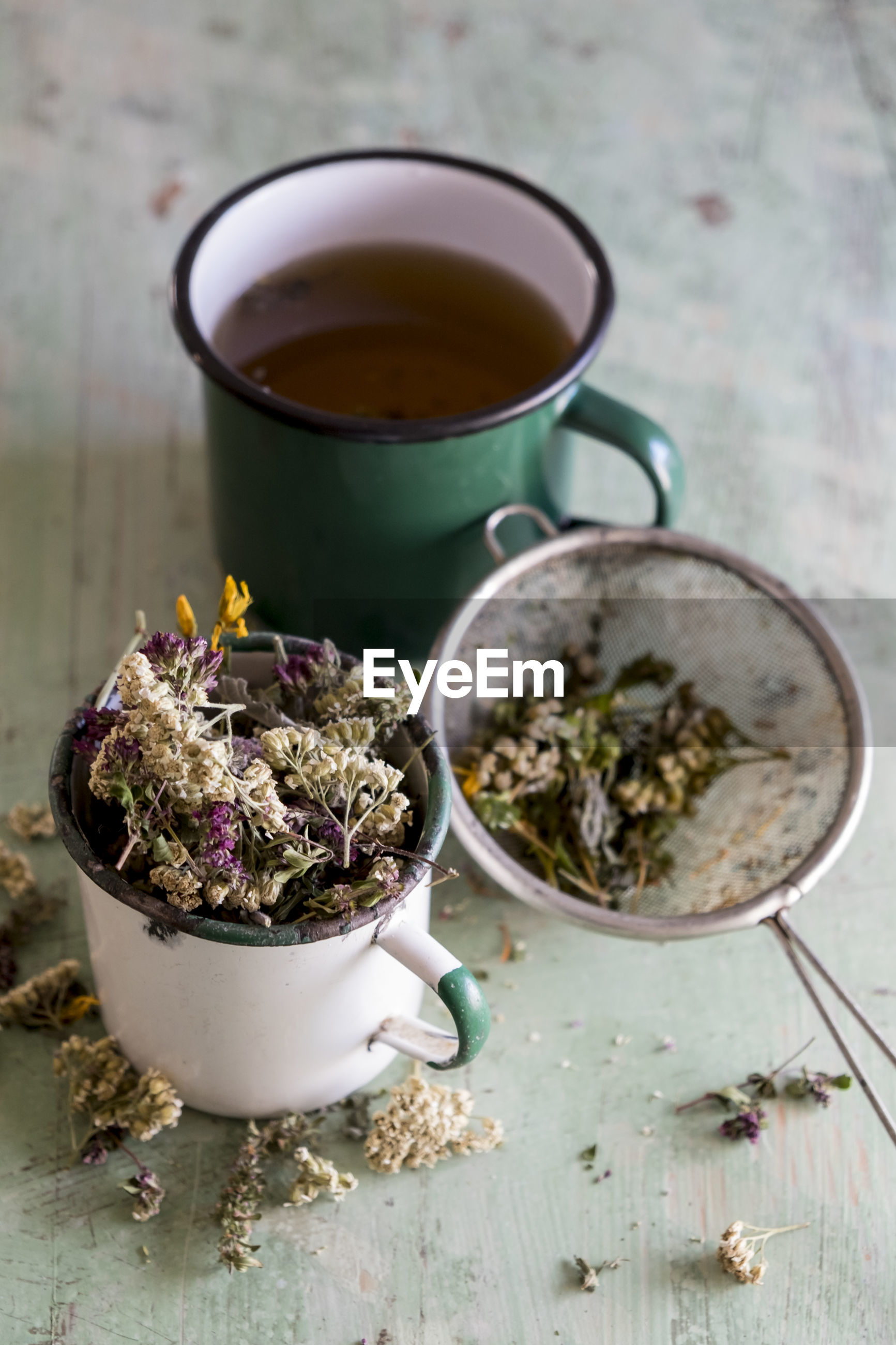 High angle view of flower in tea served on table