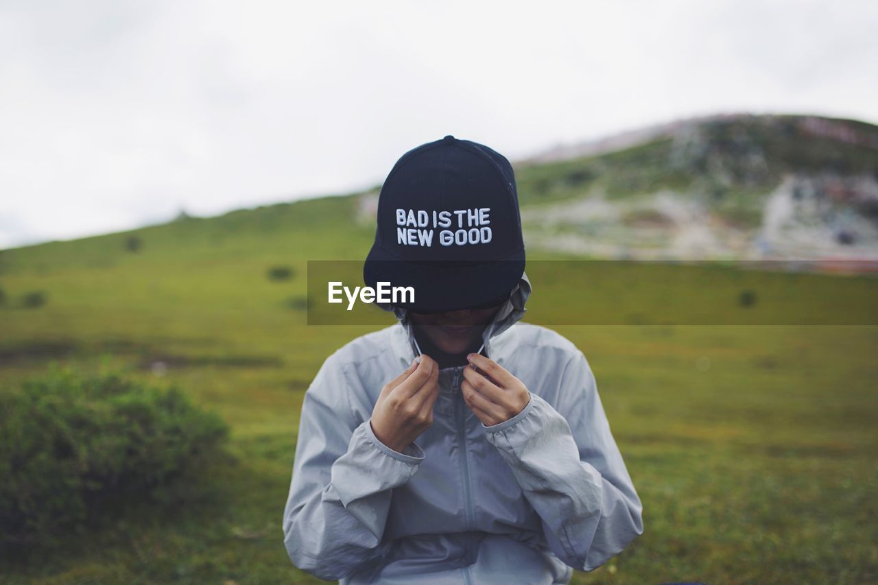 Girl Wearing Hat On Landscape