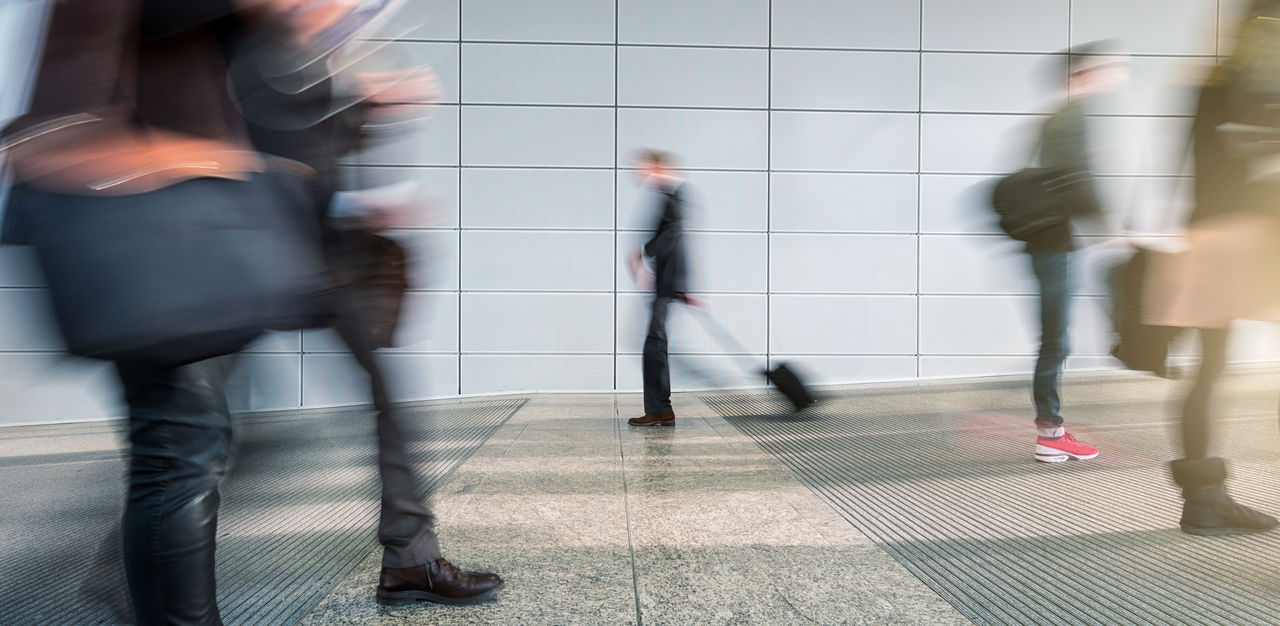 blurred motion, motion, walking, real people, group of people, men, women, architecture, adult, flooring, urgency, transportation, people, long exposure, lifestyles, unrecognizable person, indoors, speed, tile, tiled floor