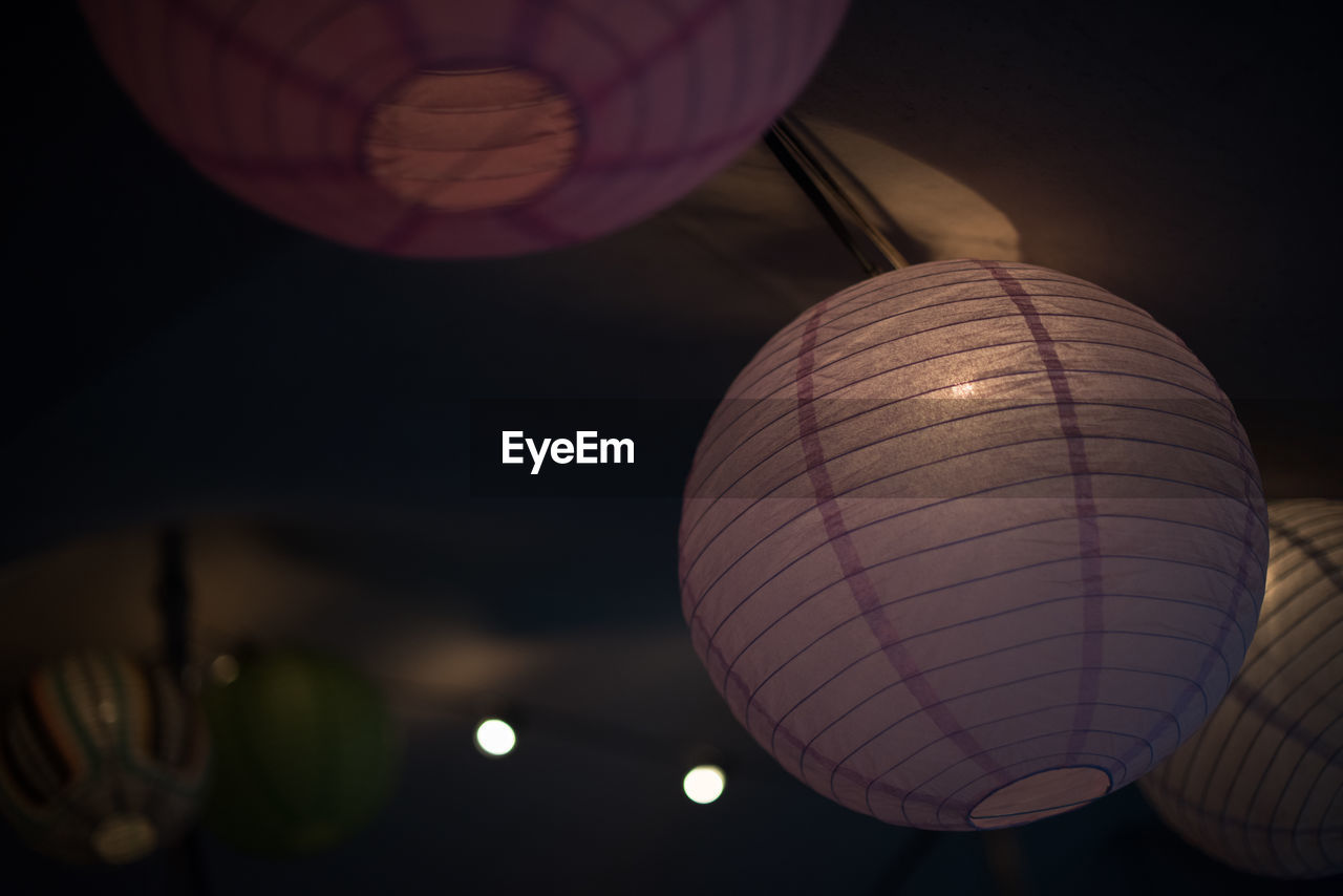 chinese lantern, low angle view, lighting equipment, lantern, illuminated, traditional festival, celebration, night, hanging, paper lantern, chinese lantern festival, sky, no people, outdoors, close-up