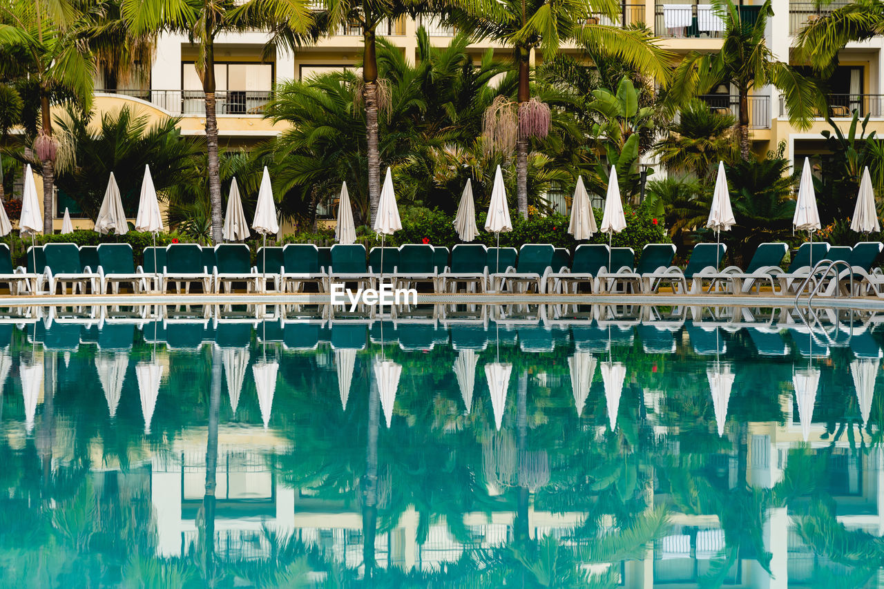 reflection, water, palm tree, built structure, pool, architecture, tropical climate, plant, building exterior, swimming pool, tree, day, nature, no people, tourist resort, waterfront, outdoors, in a row, building, luxury