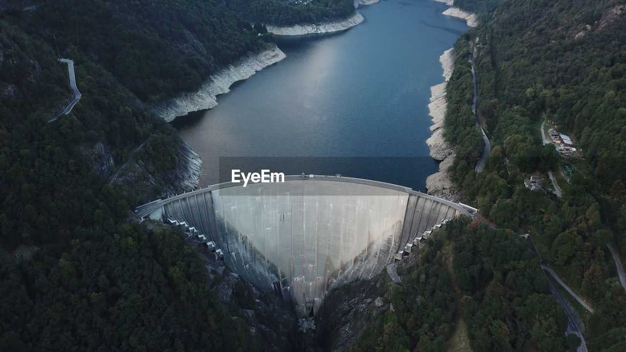 High angle view of dam amidst trees