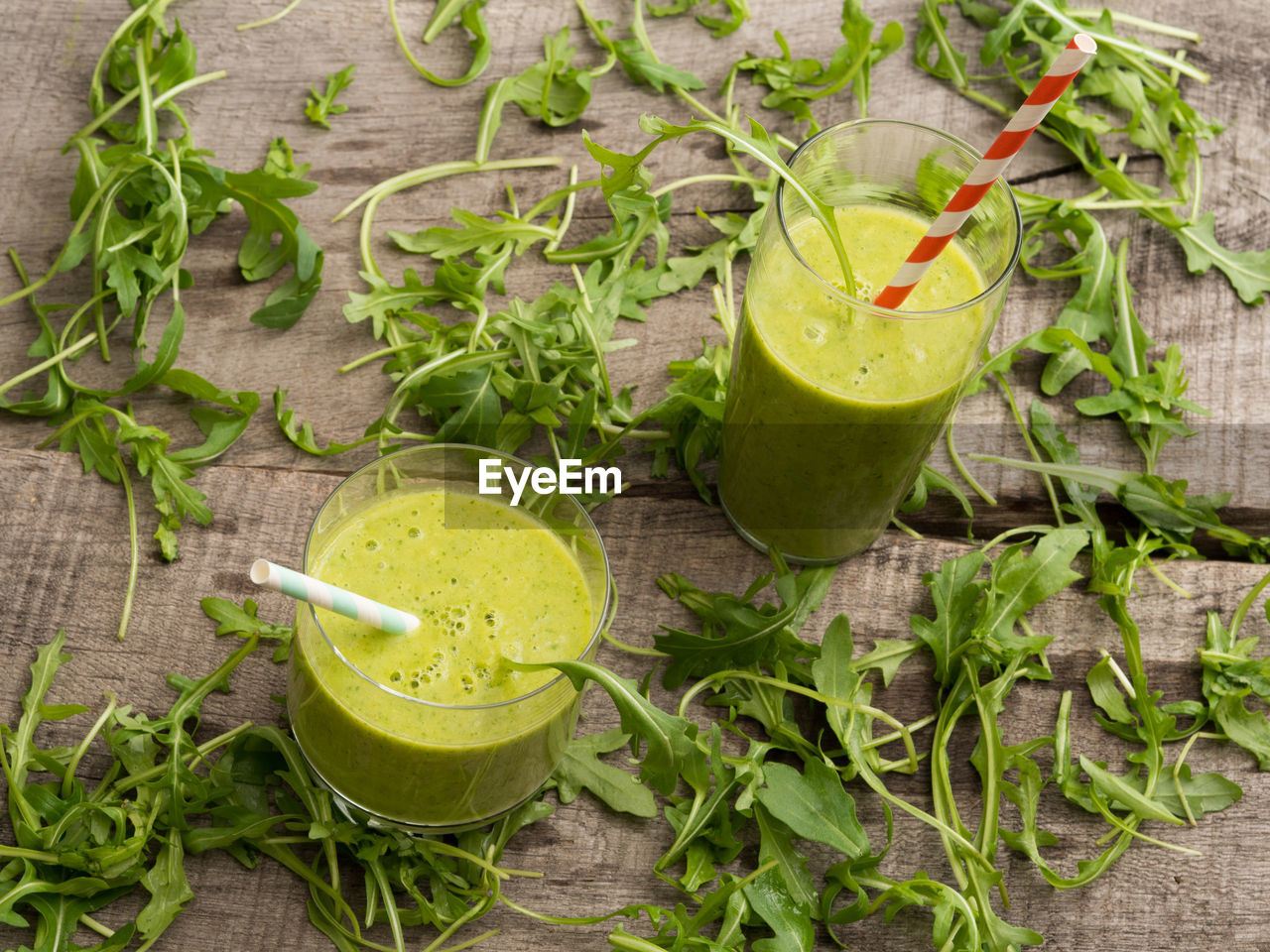 High angle view of smoothies on table
