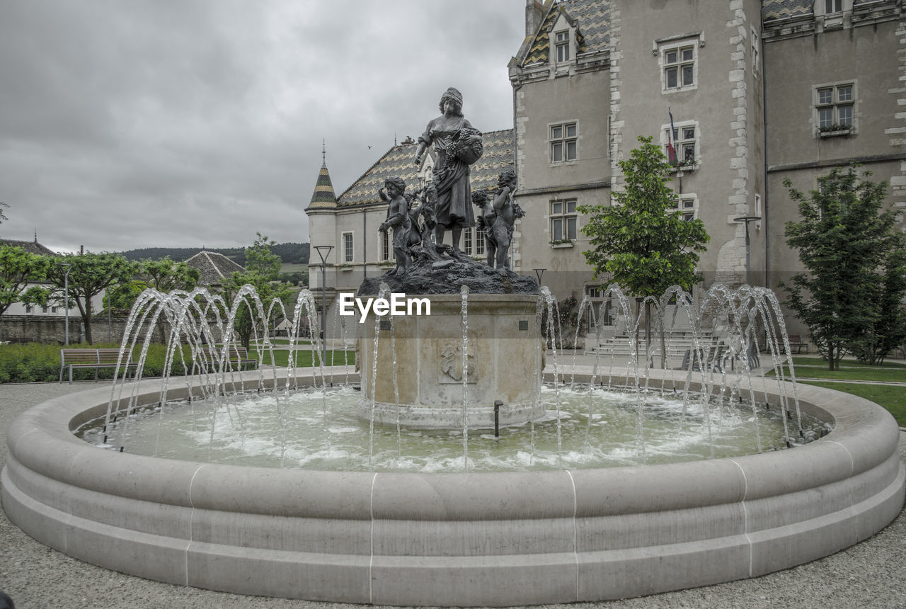 Statues in fountain by building against sky