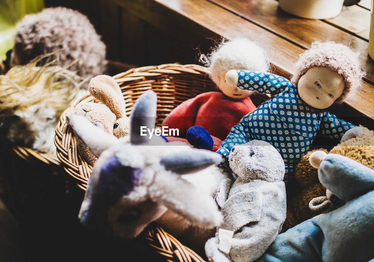 Stuffed Toys In Basket