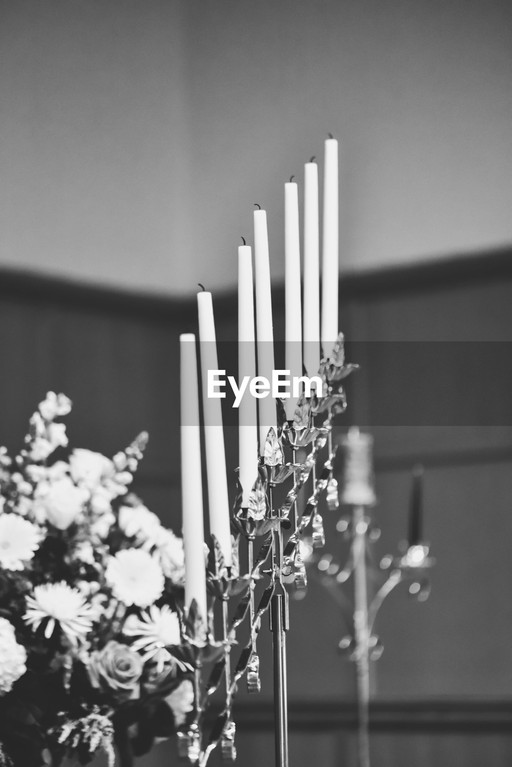 Candles and flowers at a wedding