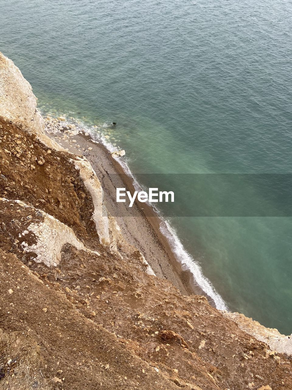 HIGH ANGLE VIEW OF WAVES ON BEACH
