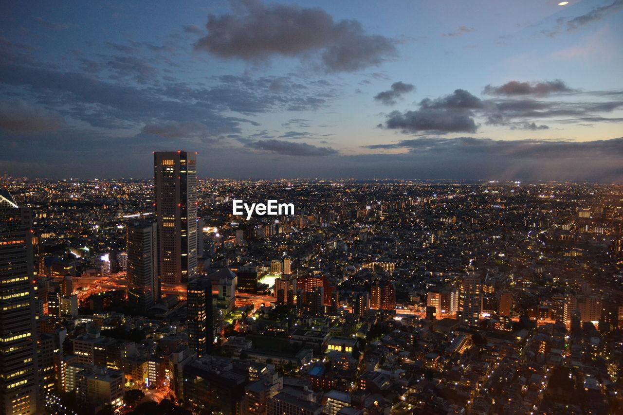High Angle View Of Illuminated City Scope