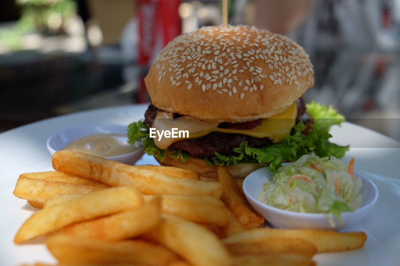 Close-Up Of French Fries And Hamburger Served In Plate