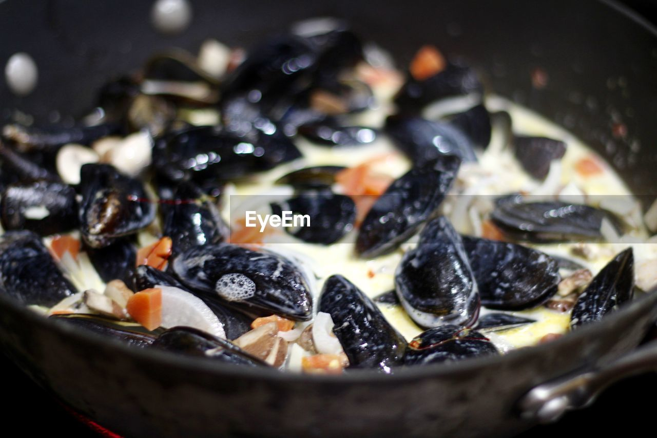 Close-Up Of Mussel Broth In Container